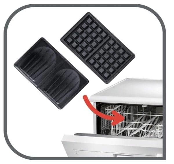 Les plaques du gaufrier peuvent être lavées au lave-vaisselle