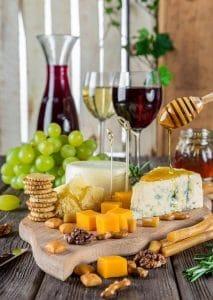 Assortiment vin et fromage